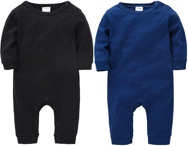 kavkas Baby Boy Footless Romper Jumpsuit Cotton One Piece Coverall Pajamas Sleep and Play, 2 Pack
