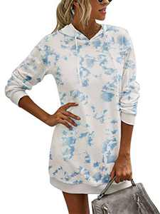 Margrine Ladies Casual Tie Dye Long Sleeve Hooded Long Pullover Hoodie Sweatshirt Dress with Pockets Blue and White 2MA65-lanbai-S