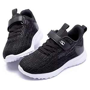 WOUEOI Kid Boys Girls Shoes Running Sports Sneakers Toddler/Little (Black 1, 4 Big Kid)