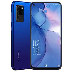 """Unlocked Smartphones,OUKITEL C21 Android 10 Cell Phones 6.4""""FHD+ Screen 20MP Front Camera 4 Rear Cameras Helio P60 Processor 4GB+64GB 4000 mAh Battery Face ID+Fingerprint Mobile Phone Dual SIM 4G,Blue"""