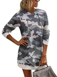 Margrine Women's Tie Dye Printed Long Hoodie Sweatshirt Casual Long Sleeve Pullover Hoodie Dress with Pockets Camouflage 2MA65-micai-M
