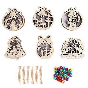HOHOTIME Wooden Christmas Decorations, DIY Wooden Unfinished Set, Blank Wood Cutouts Ornaments Hanging Disc, Ideal for Cup Mat, Christmas Party, DIY Craft, Xmas Tree Decor, 30 PCS