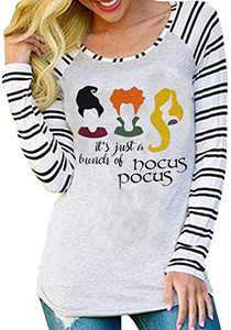 UNIQUEONE It's Just A Bunch of Hocus Pocus Halloween T-Shirt Women Sanderson Sisters Funny Baseball Tops Tee (Stripe, XX-Large)