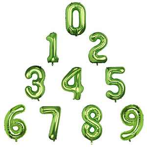 PAFUWEI 40 Inch Green 10 PCS 0-9 Number Big Number Balloons Giant Number Balloon Digital Balloon Large Number Balloon Mylar Birthday Party Decorations of 10PCS of Arab number (Zero-Nine)
