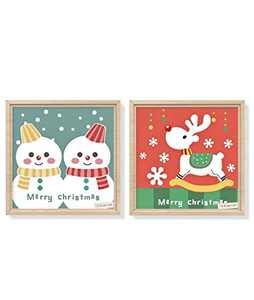 """COLORMAIZE 2 Pack Framed Christmas DIY Paint By Numbers Kit for Adults Beginner and Kids, Acrylic Oil Painting Drawing Paintwork with Paintbrushes, 8"""" W x 8"""" L - Christmas Snowman & Reindeer 2 PCS set"""