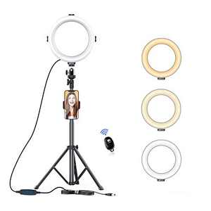 """AFI 8"""" Ring Light with Tripod Extendable Stand 3 Color Modes Dimmable 3200K-6500K Circle LED with Phone/Pad Holders Carrying Bag for YouTube Live Stream Makeup Vlog TikTok Selfie Zoom"""