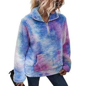 LIVACASA Women's Fleece Hoodie Sweatshirt Half ZipWomen Fleece Pullover Casual Loose Oversized Fluffy with Pockets Outwear Light Blue and Purple XL