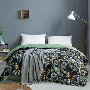 Omelas Black Boho Paisley Duvet Cover Queen Vibrant Yellow Bohemian Botanical Floral Print Reversible Geometric Pattern Bedding Sets Luxury Microfiber Comforter Quilt Covers for Women Men