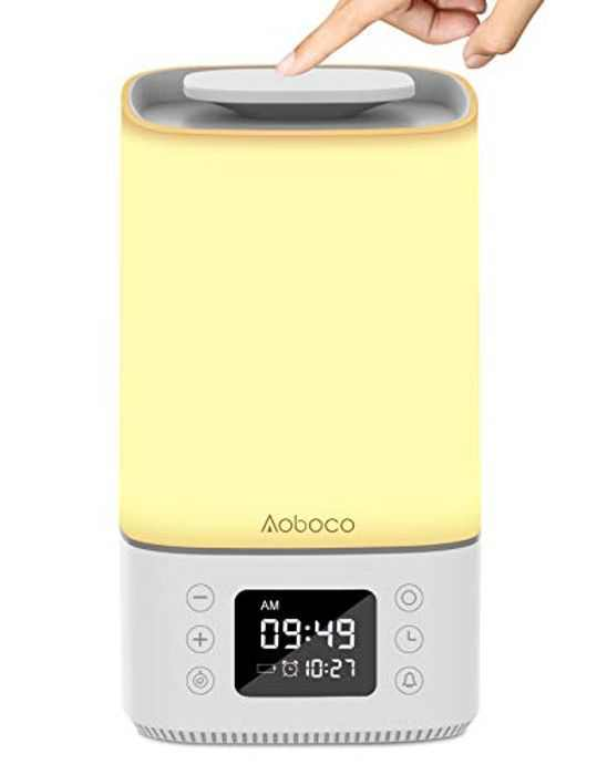 Touch Sensor Bedside Lamp, Aoboco LED Night Light with Quick Type-C Charging Port, Big Screen, Alarm Clock Timer, 3-Level Warm Light & RGB Colourful Touch Lamps for Bedrooms, Living Rooms and Office