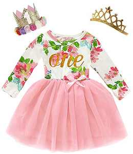 Shalofer Baby Girl One Year Old Birthday Clothes Toddler Floral Dress with Wreath Crown and Crown (Pink03,12-18 Months)