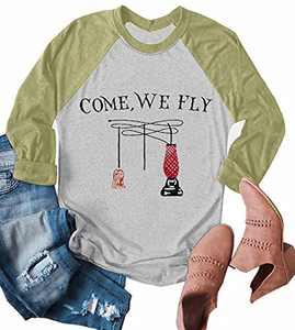 UNIQUEONE Come We Fly Halloween T-Shirt Women 3/4 Sleeve Baseball Shirts (Green, Medium)