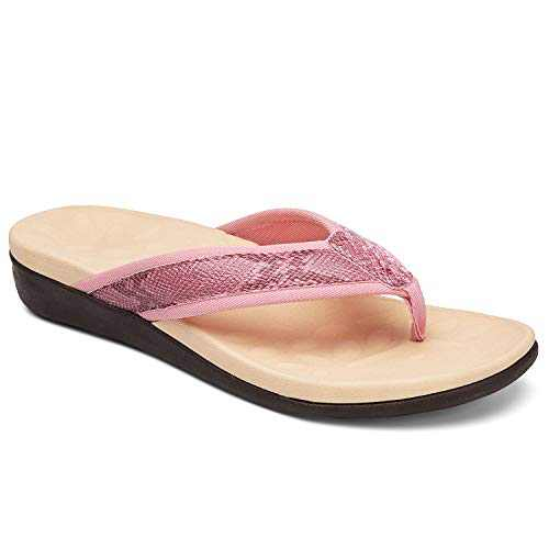 UTENAG Women's Orthotic Flip Flops Arch Support Summer Beach Sandals Thong Style Casual Flat Pink