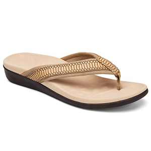UTENAG Women's Orthotic Flip Flops Arch Support Summer Beach Sandals Thong Style Casual Flat Brown