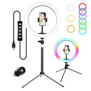 """Zacro 10"""" RGB Ring Light with Tripod & Phone Holder & Remote, LED Ring Light with Dimmable 6-Color Mode 9 Light Brightness Level, Desktop Circle Light for Make Up/YouTube/Selfie/Live Streaming, etc"""