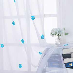 BONZER Rod Pocket Floral Sheer Curtains for Kid Room Handmade Flower Pins Light Filtering Window Curtain for Girls Bedroom, Turquoise, 52 x 63 Inch, Set of 2 Panels