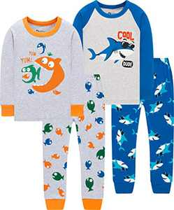Pajamas Boys Christmas Kids Children Shark Pjs Holiday School Pants Gift Set Sleepwear Size 3