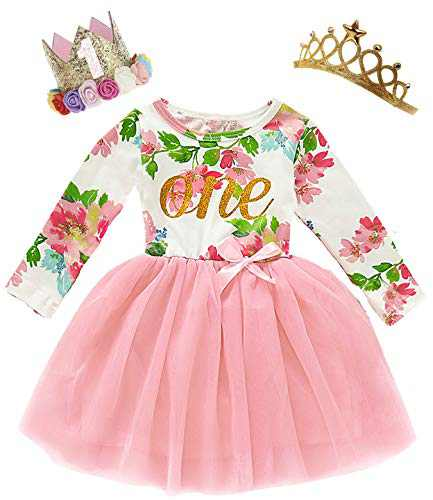 Shalofer Baby Girl One Year Old Birthday Clothes Toddler Floral Dress with Wreath Crown and Crown (Pink03,6-12 Months)