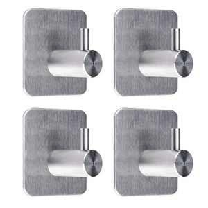 Adhesive Hooks / Towel Hanger - Bathroom Towel Hooks, Heavy Duty Wall Hooks for Hanging Coats Hat Towel - Waterproof Stainless Steel Wall Hangers Without Nails - 4 Packs
