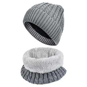 BROTOU Winter Beanie Hat Scarf Set Fleece Liner Warm Knit Hat Thick Knit Skull Cap Outdoor Sports Hat Sets for Men Women (Grey)