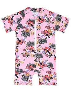 Cadocado Girls Swimwear Rash Guard Onesies Summer Beach Floral Swim Ruffle Sun Suit,Red Floal,5-6 Years