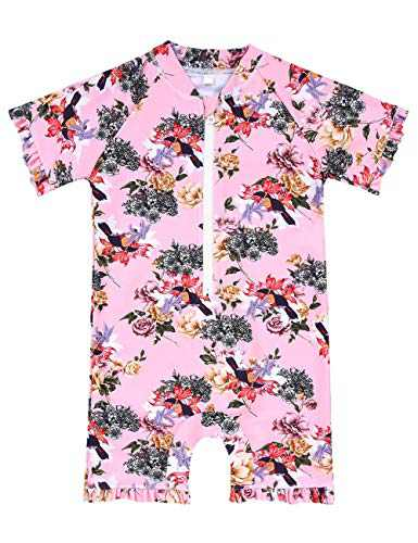 Cadocado Little Girls Floral One Piece Swimwear Short Sleeve Thanksgiving Gift Costume Swimsuit,Red Floral,3-4 Years