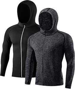 Men's 2 Pack Hoodie UPF 50+ Sun Protection Lightweight Full Zip Up Hooded Active Sweatshirt Black/Carbon Black-XL