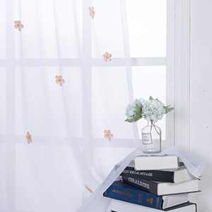 BONZER Rod Pocket Faux Linen Sheer Curtains with Handmade Flower Pins for Kid Room Floral Light Filtering Voile Drapes for Girls Bedroom,Pink,52 x 95 Inch,Set of 2 Panels