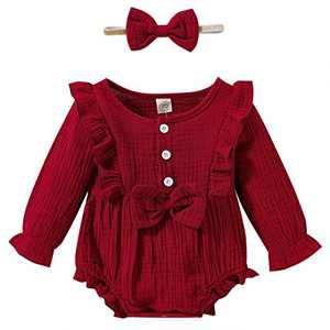 Toddler Baby Fall Outfit Baby Girl Ruffle Onesie Long Sleeve Onesies Cute Romper Jumpsuit Linen Cotton Bodysuits Tops Clothing