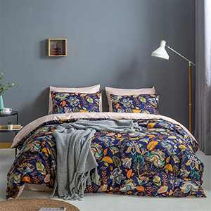 Omelas Botanical Floral Duvet Cover Set Queen Size Luxury Royal Blue Branches Leaves Flowers Printed Reversible Texture Pink Bedding Soft Microfiber Quilt Cover with Zipper Closure, No Comforter