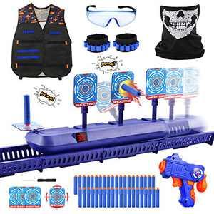Fibevon Running Shooting Targets for Nerf Guns Practice, Electronic Score Target Kit Toy w/Blaster, Vest, Glasses, Bandanas, Wristbands and Foam Darts, Ideal Gift Toys for Kids, Boys, Girls Aged 6-13