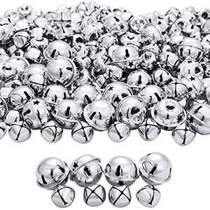 250 Pieces Jingle Bells Metal Star Cutout Jingle Bells and Craft Bells for Christmas Party Decorations Craft Decorations DIY Bells for Wreath (Silver)