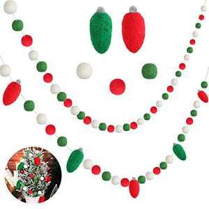 Tatuo 2 Pieces 3D Christmas Light Bulbs Garland Felt Ball Garland Ball Pom Pom Garland Christmas Banner Handmade Pom Pom Garland with 65 Pieces Balls and 5 Pieces Light Bulbs Ornaments for Christmas