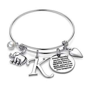 Ursteel Elephant Gifts for Women, Dainty Letter K Initial Bracelets You are Braver Than You Believe Inspirational Bracelet for Women Teen Girls Jewelry Elephant Lover Gifts