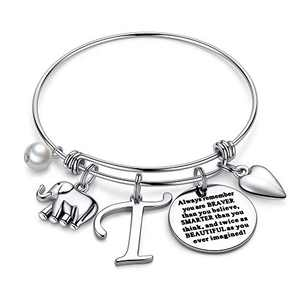 Ursteel Elephant Gifts for Women, Dainty Letter T Initial Bracelets You are Braver Than You Believe Inspirational Bracelet for Women Teen Girls Elephant Jewelry Gifts Friends Birthday
