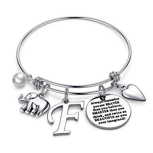 Ursteel Elephant Gifts for Women, Dainty Letter F Initial Elephant Bracelets You are Braver Than You Believe Inspirational Jewelry Thinking of You Gifts for Women Girls Friends Birthday