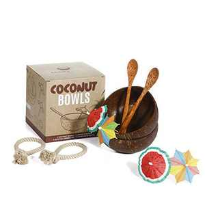 Coco's Boon Upgraded LeakProof Coconut Bowl Set. Big Coconut Bowls with Spoons, Stabilizers, Umbrellas. Natural Coconut Bowls for Acai Bowl, Coconut Cups Hawaiian Party Shells, Wooden Smoothie Bowls