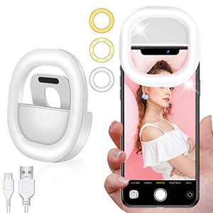 Selfie Light Ring Led Circle Clip on Selfie Fill Light with 28 Led Bubbles 3 Light Modes USB Rechargeable Portable for Smart Phones, Pads, Makeup Mirrors