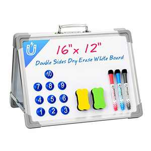 Vitviti Small Dry Erase White Board, Portable Desktop Dry Erase Board, Mini Foldable Whiteboard, for Kids/Home/Classroom/Students, 16 x 12 inches (White)
