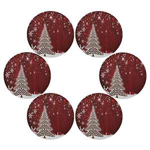 Christmas Tree Round Placemats Set of 6 for Dining Table Heat Insulation Non-Slip Washable Place mats