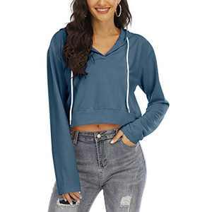 Women's V Neck Hoodies Crop Top Long Sleeve Casual Pullover Sweatshirt(Peacock,M)