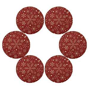 Christmas Snowflakes On Red Round Placemats Set of 6 for Dining Table Heat Insulation Non-Slip Washable Place mats