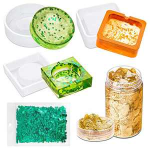 Ashtray Molds for Resin, Acejoz 3Pcs Silicone Resin Molds Ashtray with Foil Flakes and Weed Leaf Glitter for Resin Casting
