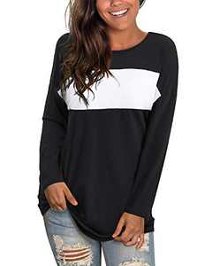 GOOTUCH Womens Long Sleeve Tops Round Neck Color Block Casual Loose Blouse T-Shirt Tunic Tops(Black White,S)