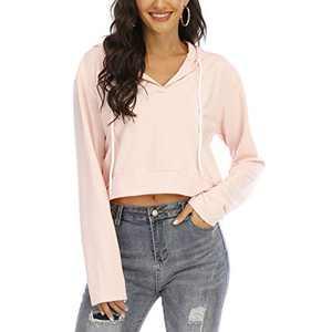Women's V Neck Hoodies Crop Top Long Sleeve Casual Pullover Sweatshirt(Pink,XL)