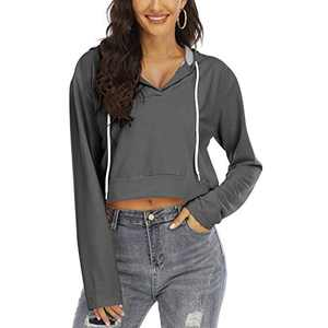 Women's V Neck Hoodies Crop Top Long Sleeve Casual Pullover Sweatshirt(Gray,S)