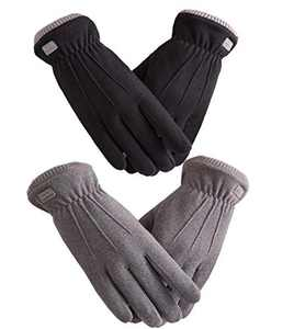 Woogwin 2/4 Pairs Winter Gloves for Women Warm Touchscreen Windproof Fleece Gloves Girls Cold Weather(2pcs Black+Grey)
