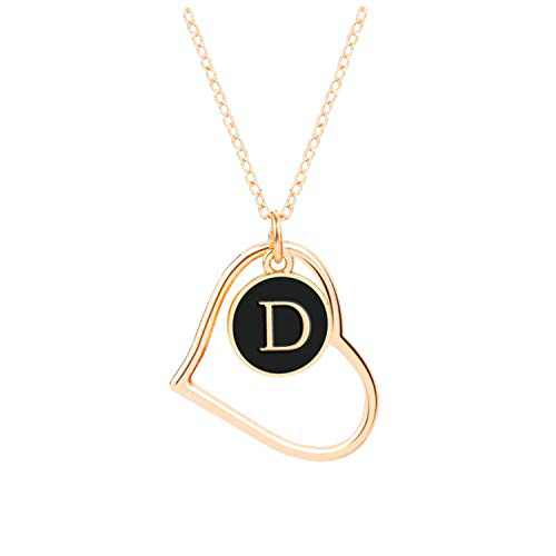 D Initial Necklaces, Jewelry Necklace for Women Girls, 16K Gold Plated Custom Name Necklace Personalized, Dainty Chain Choker Heart Shaped Pendant, Ideal Toys and Gift for Teen Girls or Daily Wear