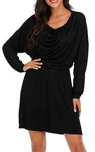 VZULY Women's Long Sleeve Folds Cowl Neck Casual Loose Mini Dresses Black L