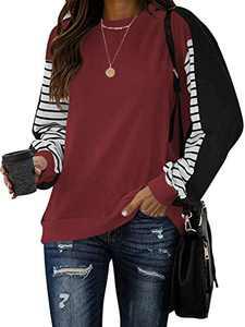 Woneta Womens Crewneck Color Block Sweatshirt Striped Long Sleeve Shirts Patchwork Tunic Tops Loose Pullover SJH-2-W29A2-jiuhong-S Wine Red