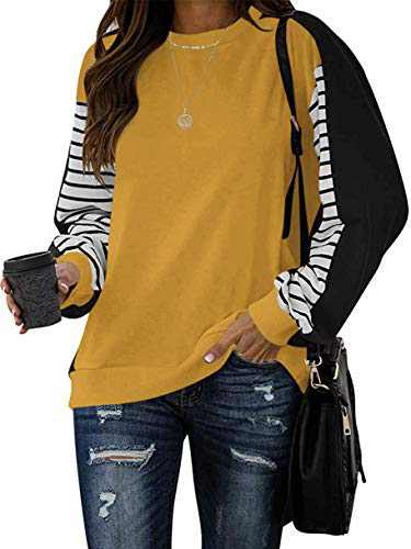 Margrine Women's Striped Long Sleeve Crewneck Sweatshirts T Shirts Casual Pullover Loose Fit Tops Tunics Yellow 2MA92-huangse-S